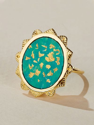 Malka Ring - Turquoise covered with gold foils