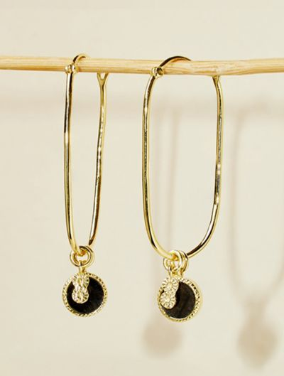 Arya Earrings - Textured Onyx