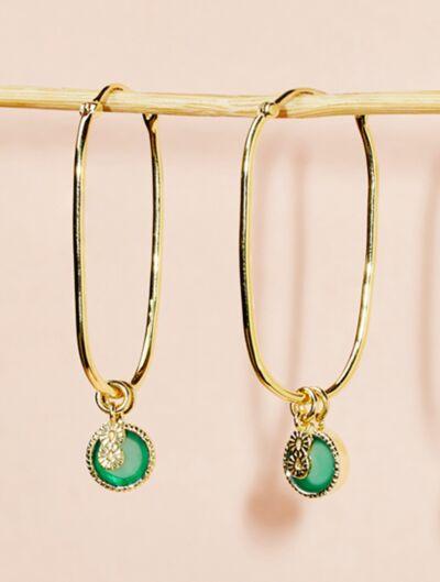 Arya Earrings - Green Onyx