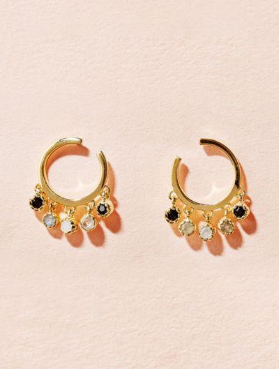 Mahdi Earrings - Textured Onyx, Labradorite and Moonstone