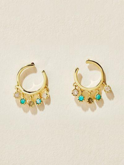 Mahdi Earrings - Moonstone, Turquoise and Labradorite