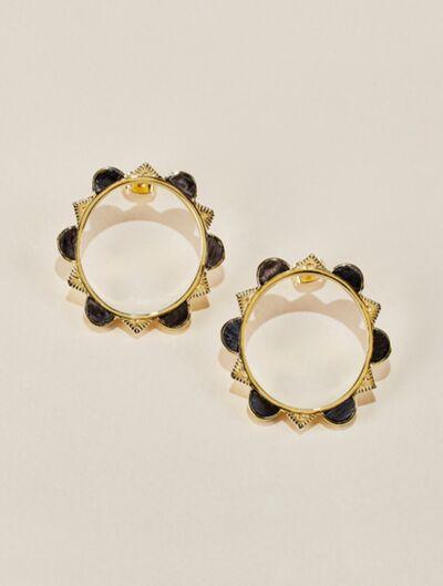 Malka Earrings - Textured Onyx
