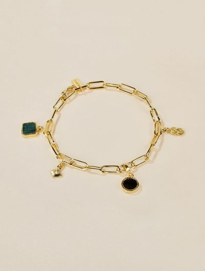 Arya Bracelet - Emerald and Textured Onyx