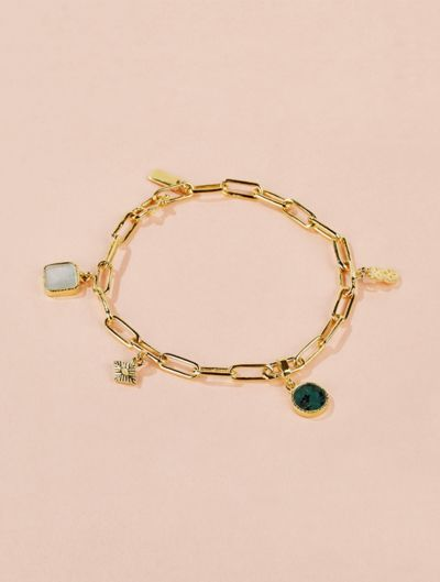 Arya Bracelet - Mother of Pearl and Emerald