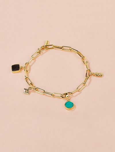 Arya Bracelet - Turquoise and Textured Onyx