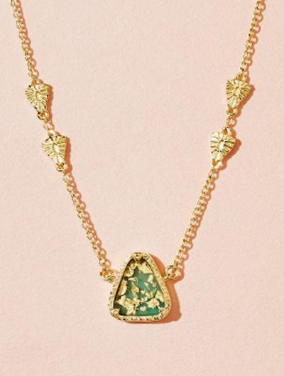 Collier Macha - Onyx Vert recouvert de feuilles d'or