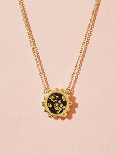 Collier Malka - Onyx Texturé recouvert de feuilles d'or