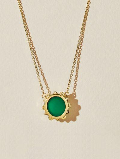 Malka Necklace - Green Onyx