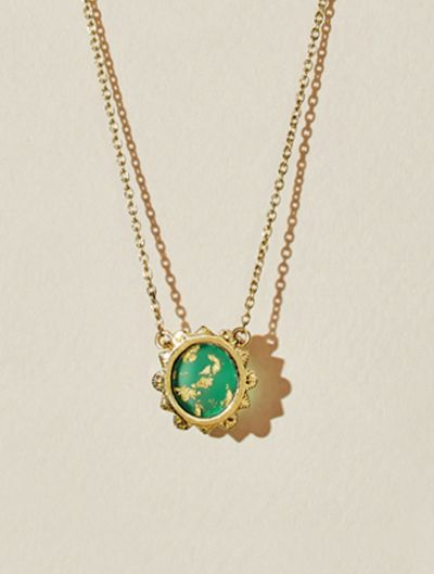 Malka Necklace - Green Onyx covered with gold foil