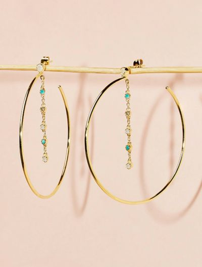 Mahdi Hoops - Moonstone, Turquoise and Labradorite
