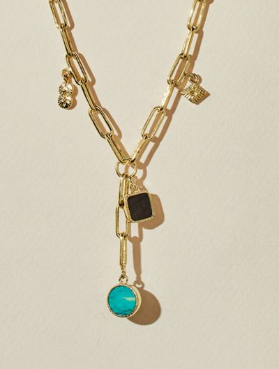 Arya Long Necklace - Turquoise and Textured Onyx
