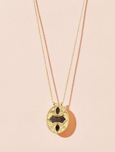 Marala Long Necklace - Textured Onyx
