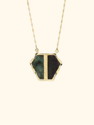 Nemara Long Necklace - Emerald and Textured Onyx