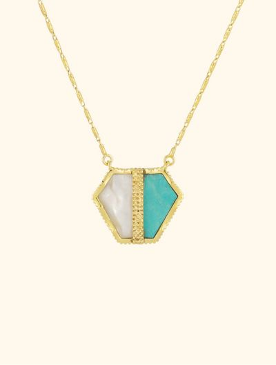 Sautoir Nemara - Turquoise et Nacre