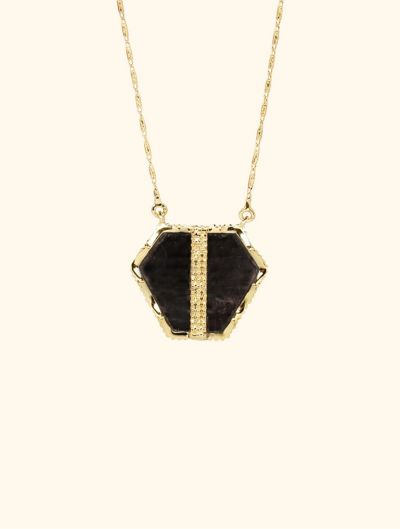 Nemara Long Necklace - Textured Onyx