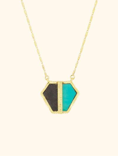 Sautoir Nemara - Turquoise et Onyx Texturé