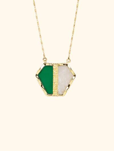 Nemara Long Necklace - Moonstone and Green Onyx