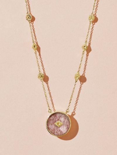 Sanja Long Necklace - Strawberry Quartz