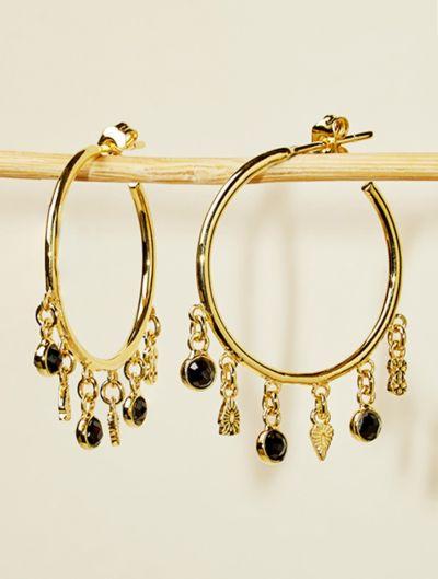 Nati Earrings - Black Zircons
